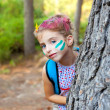Children little girl happy playing in forest tree — Stock Photo #7109141