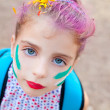 Blue eyes  children girl  pinted face makeup — Stock Photo