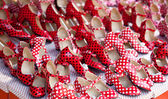 Gypsy red shoes with polka dot spots — Stock Photo