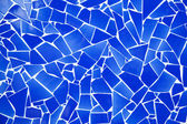 Blue trencadis broken tiles mosaic — Stock Photo