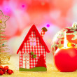 Stock Photo: Christmas golden tree and red vichy house