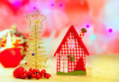Christmas golden tree and red vichy house — Stock Photo