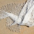 Fishing new white net texture closeup - Stock Photo