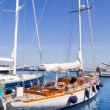 Luxury yachts in Formentera marina - Stok fotoraf