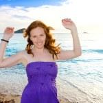 Dancing girl at Ibiza sunset in Cala Conta — Stock Photo #7315754