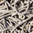 Messy braided ropes of fishing tackle — 图库照片