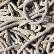 Messy braided ropes of fishing tackle — ストック写真