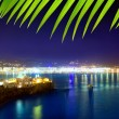 Ibiza town port blue sea night lights — Stock Photo