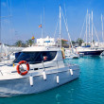 Boats moored in Formentera marina — Stock Photo