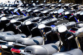 Bikes scooter pattern in renting store — Stock Photo