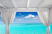 Gazebo white in tropical Caribbean beach — Stock Photo