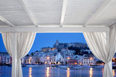 Ibiza town view from white gazebo — Stock Photo