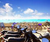 Bikes parking at Formentera beach — Стоковое фото