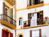 White houses in Ibiza town from Balearics — Stock Photo