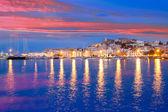 Ibiza island night view of Eivissa town — Stock Photo