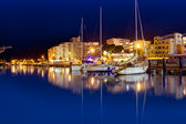 San Antonio de Portmany night port in Ibiza — Stock Photo