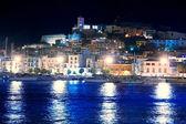 Visão noturna Ibiza ilha eivissa cidade — Fotografia Stock