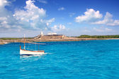 Little sailboat in formentera — Stock Photo