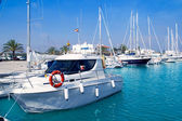 Boats moored in Formentera marina — Stock Photo