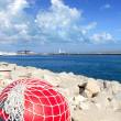 Fishing buoy with net in formentera port - Stock Photo