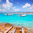 Illetes beach in Formentera island in summer - Stock Photo