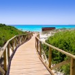 Formentera migjorn Els Arenals beach walkway — Stock Photo