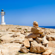 Barbaria formentera Lighthouse make a wish stones — Stock Photo #7325386
