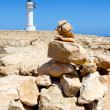 Barbaria formentera Lighthouse make a wish stones — Stock Photo #7325447