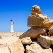Barbaria formentera Lighthouse make a wish stones — Stock Photo