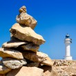 Stock Photo: Barbaria formentera Lighthouse make a wish stones