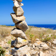 Desire make a wish stacked stones mound - Stock Photo