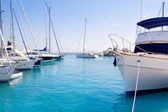 Luxury yachts in Formentera marina — Stock Photo