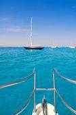 Boat bow in Illetes Formentera Ibiza island — Stock Photo