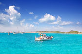 Llaut white boat in Formentera Illetes near Ibiza — Stock Photo