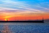 Ibiza mountains on sunset view from Formentera — Stock Photo