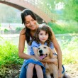 Daughter and mother with golden retriever — Stock Photo #7470887