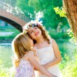 Kid girls playing in spring outdoor river park — Stock Photo #7470912