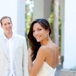Happy beautiful woman portrait with man — Stock Photo