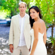 Bride just married couple in love at outdoor — Stock Photo