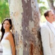 Couple happy in love at park outdoor tree — Stock Photo