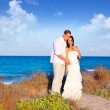 Couple in love in the beach on Mediterranean — Stock Photo