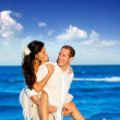 图库照片: Copuple beach vacation in honeymoon trip