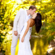 Couple kissing in honeymoon outdoor park - Stock Photo