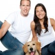 Couple in love puppy dog golden retriever — Stock Photo #7476009