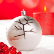 Royalty-Free Stock Photo: Christmas card of tree bauble and red candle