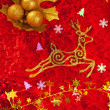 Christmas card background golden and red - Stock Photo