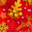 Stock Photo: Christmas card background golden and red