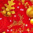 Christmas card background golden and red - Стоковая фотография