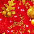 Christmas card background golden and red - Stock fotografie