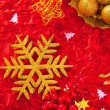 Christmas card snowflake golden and red — Foto Stock